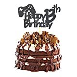 Video Game Cake Topper, Glittery Happy 13th Birthday Video Gaming Cake Toppers for 13 Year Old Boy...