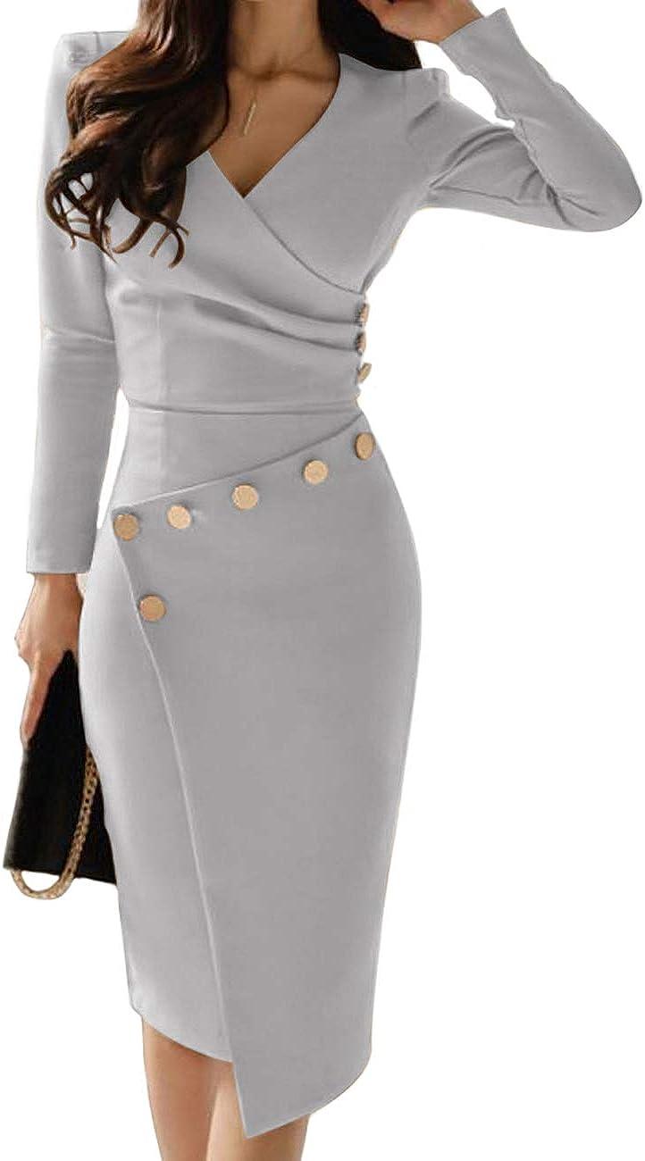 Senggeruida Women Ruched Button Design Irregular Dress