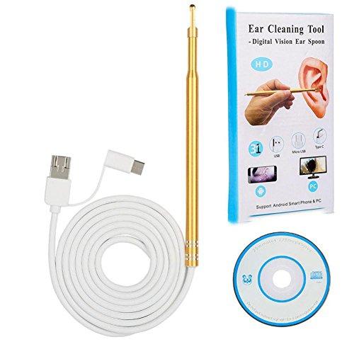 3 in 1 USB Ohr Reinigung Endoskop Kamera, Inspektions Kamera Wasserdichte OTG Funktion Otoskop Visuell Earpick Werkzeug mit 6 Verstellbare Led Lampen für Android Micro Typ-C USB