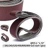 Nice 6pcs / Set 2 X 72 Lijado abrasivo Lijadora Cinturón 10 Paquete Cinturones de papel de lija T Herramientas para el hogar Suministros Accesorios para máquinas de pulido, papel de lija