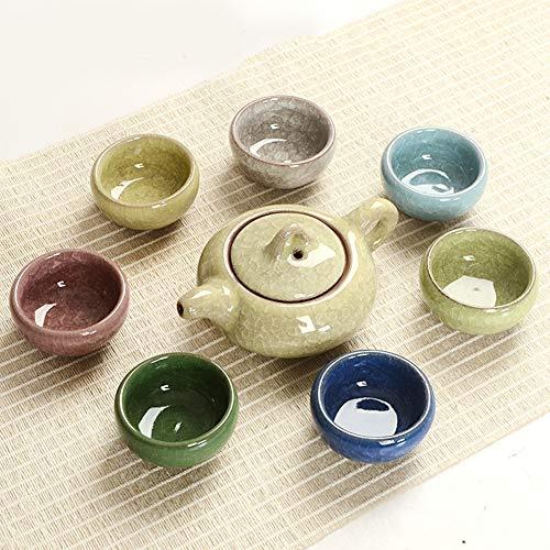 QKFON Chinesisches Tee-Set aus Porzellan mit 6 Keramik-Teetassen, Dekoration für Zuhause, Büro, Teeshop, Teehaus, für Papa (Teekanne 15 x 7 cm/Teetasse 6,6 x 3 cm)