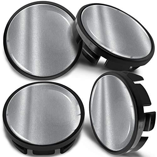 SkinoEu 4 x 65mm Tapas de Rueda de Centro Centrales Llantas Aluminio Compatibles con Tapacubos VW Número de Pieza 3B7601171 / 6U7601171 Negro Plata CV 3