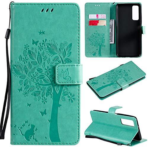 nancencen Hülle Kompatibel mit Huawei P Smart 2021 / Y7A, Flip-Case Handytasche - Standfunktion Brieftasche und Kartenfächern - Baum und Katze - Green