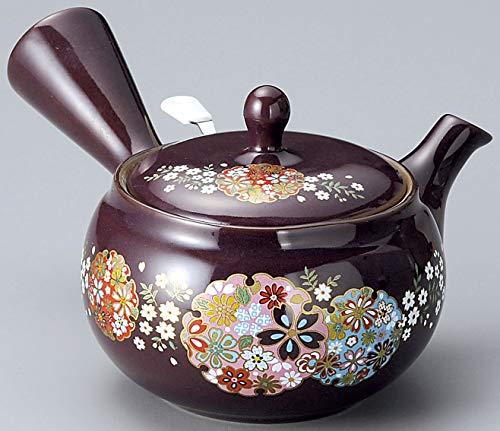 Yamakiikai Japonés Kyusu Tetera de cerámica japonesa con diseño de flores redondas y colador inoxidable FY1323 de Japón