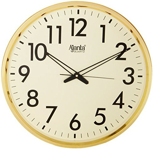 Ajanta Quartz Wall Clock (32 cm x 32 cm x 3.5 cm, Gold)