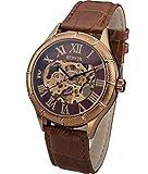 SEWOR orologio da polso meccanico da uomo a mano con scheletro (Oro rosa)