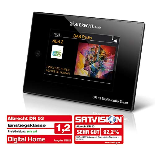 Albrecht DR53, DAB+/UKW Digitalradio-Tuner, 27251, mit 4'' Farbdisplay zum Anschluss an die Stereoanlage inkl. Fernbedienung