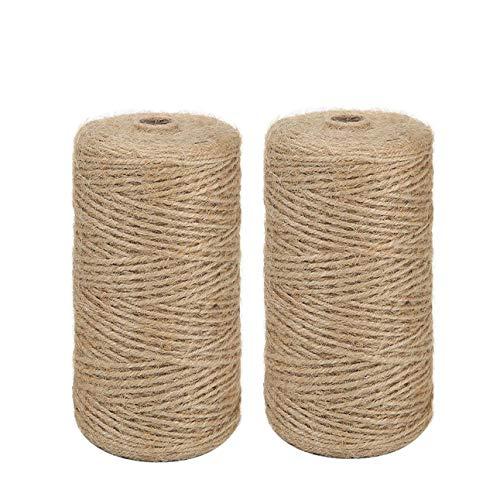 Cordel de Yute 2 Rollo 328 Pies de Cuerda de Cáñamo Natural Vintage de Cuerda de Cáñamo Para Bricolaje Artes Manualidades y Decoración Materiales para Jardinería (2*100 metros, marrón)