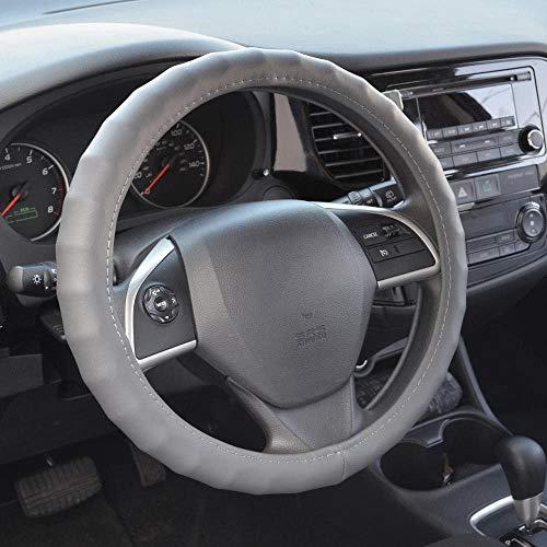 BDK – Funda de piel para volante de coche (34.5 – 35.56 cm), color negro/ pequeño, Gris, Medium…
