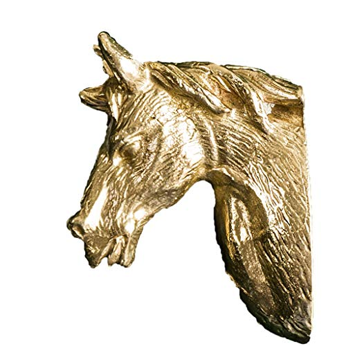 LJMG Furniture handle Home Drawer Handle,Retro Horse Head Pulls,Dresser Cabinet Wardrobe Door Knobs,Wine Cabinet Door Decorations,With Screws (Color : Gold, Size : 10 Pcs)