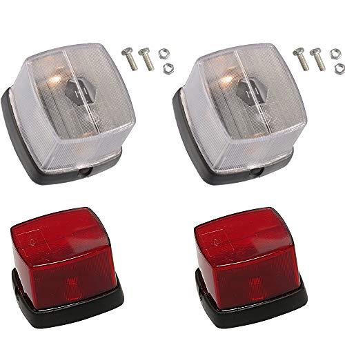 4er Set Anhänger Positionslicht Weiß mit Reflektor + Rot 60x65mm Begrenzungslicht Umrißleuchte