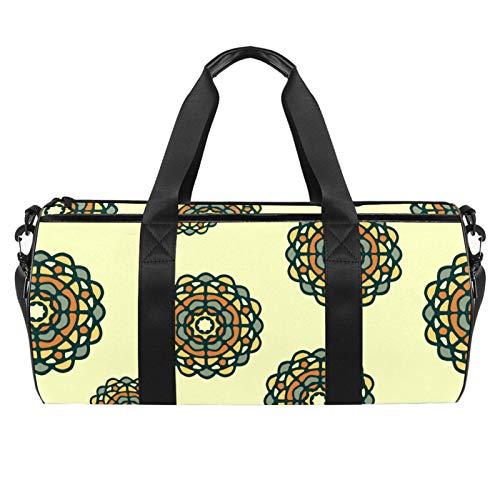 KAIXINJIUHAO 18' Sports Gym Bag,Travel Duffel Bag,Circle Flower