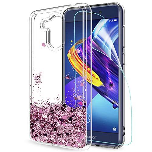 LeYi Hülle Huawei Honor 6C Pro/Honor V9 Play Glitzer Handyhülle mit HD Folie Schutzfolie,Cover TPU Bumper Silikon Treibsand Clear Schutzhülle für Case Huawei Honor 6C Pro Handy Hüllen ZX Rot Rosegold