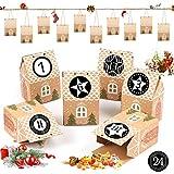 BLUELVES Calendario de Adviento, 24 Calendario Adviento, con Adhesivos Digitales de Adviento, 2020 Bolsa para Calendario de Adviento, DIY Bolsa de Regalo Navidad, Rellenar Calendario de Adviento DIY