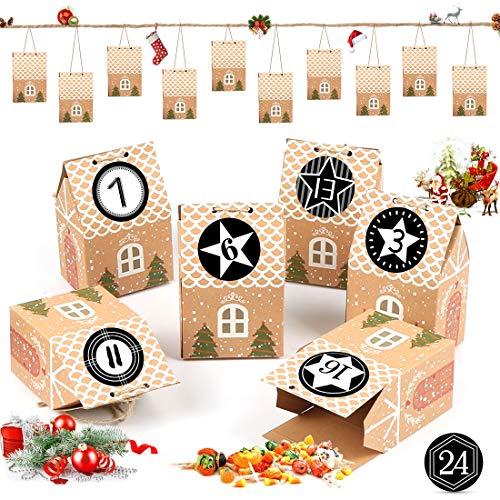 Bluelves Calendario de Adviento, Calendario de Adviento 2020, Bolsas de Yute con 24 Adhesivos Digitales de Adviento, Bolsas de Regalo Navidad, Arbol de Navidad Decoracion