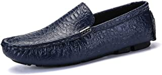 HongJie Hou Driving Loafers for Men Round Toe Gommino Slip On PU Upper Experienced Stitched Flexible Lug Sole Wrinkle Flat British Style (Color : Blue, Size : 9.5 UK)