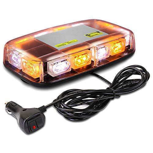 AURELIO TECH Strobe Lights for Truck with Magnetic Base, 15 Flashing Modes Hazard Warning Light Bar, Rooftop 36 LED Emergency Lights for Trucks, Construction Vehicles, Snow Plow (Amber/White)