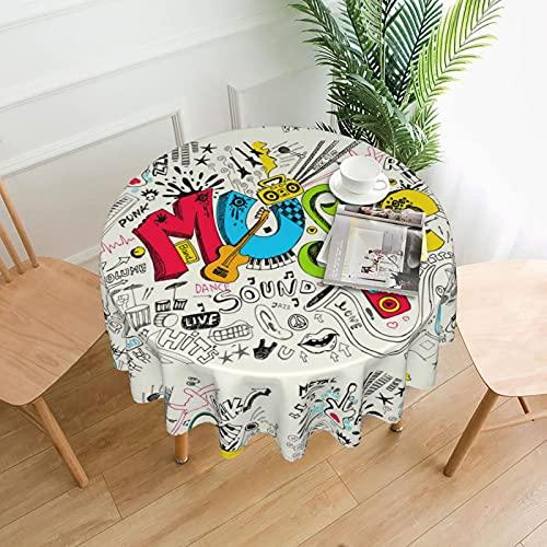 Music Art Doodle Rock Sound - Mantel redondo a prueba de derrames al agua para interiores y exteriores, cubierta de mesa de 60 pulgadas