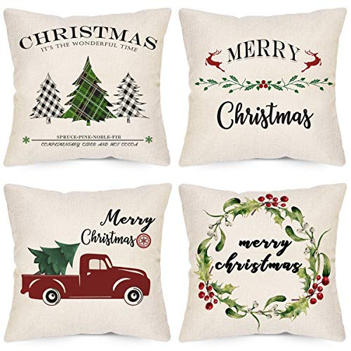 LAVEVE Christmas Pillow Covers 18x18 Inches Set of 4, Xmas Series Cushion Covers Cases, Merry Christmas Buffalo Plaid Christmas Trees Berry Wreath Car Linen Throw Pillow Covers for Sofa and Couch