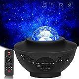 *Gindoly Projector de Llum Estel·lar, LED de Llum Nocturna Giratori, Llum de Nocturna Estrelles i Oceà, 21 Maneres Projector LED Color Reproductor de Música, amb *Bluetooth/Temporitzador/Remot
