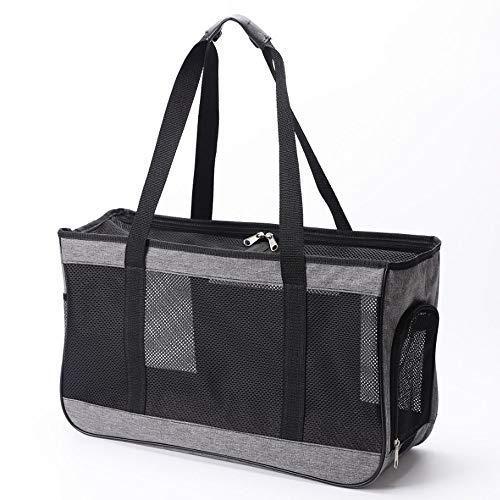 Haustier-Transporttasche für Hunde, faltbar, Reisehandtasche für Katzen, kleine Hunde, Kätzchen oder Welpen (M, grau)