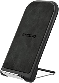 Anguo Qi ワイヤレス充電器 ワイヤレスチャージャー スタンド 二つコイル 折り畳み式 iPhone X/XS/XR/XS Max/8/8Plus 7.5W急速充電 Galaxy S9/S9+/S8+/S7/S7 Edge 10W対応 Qi認証済み 置くだけ充電 qi 充電器