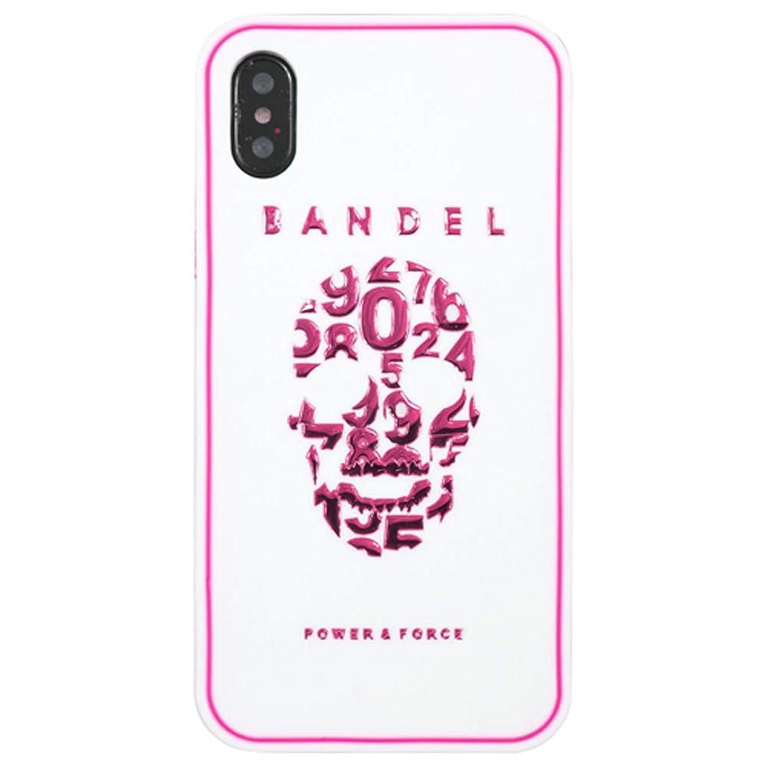 行進冊子カードバンデル iPhone X ケース メタリック スカル ホワイト×ピンク BANDEL アイフォン 10