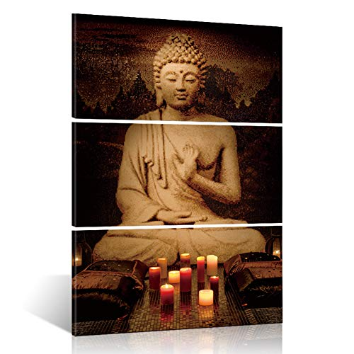 ShuaXin Framed Modern Large Buddha Portrait Painting Printed On Canvas Religion Wall Art Triptych Canvas Painting Home Decoration Wall 3 Pieces 16x32 inch