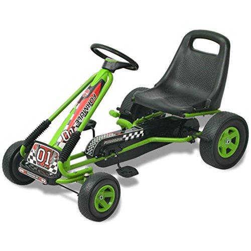 vidaXL 80153 Kinder Gokart Handbremse Höhenverstellbar Grün Gocart Tretauto Go Kart