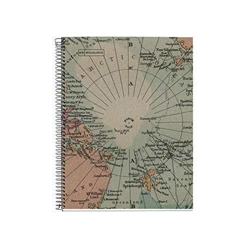 Miquelrius Cuaderno Libreta Notebook 100% Reciclado - 1 franja de color, A5, 80 Hojas cuadriculadas 5mm, Papel 80 g, 2 Taladros, Cubierta de Cartón Reciclado, Diseño Ecomaps