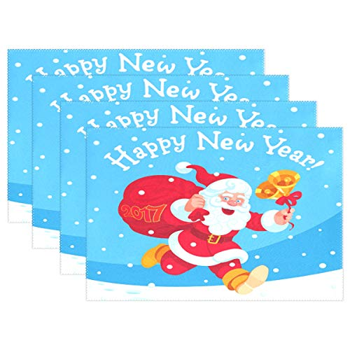 Kcldeci Weihnachtsmännchen Tischsets Tischsets Set 1 Stück Jingle Bells Hitzebeständig Tischset waschbar Anti-Rutsch-Kaffeematten für Küche Zuhause Restaurant Esstisch Dekor für Kinder Kleinkinder