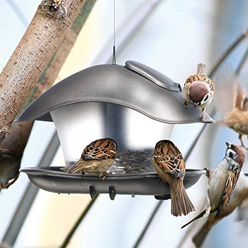 rg-vertrieb Vogelhaus Vogelfutterhaus Kunststoff Futterhaus Futterstelle Futterstation Oval 25cm x 18cm zum Aufhängen und Stecken