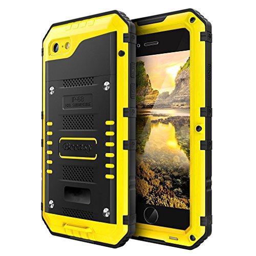 Beeasy Hülle Kompatibel mit iPhone 7/8,Wasserdicht Handyhülle Outdoor Stoßfest Handy Case Schutzhülle mit Displayschutz Metall Schutz Hülle Cover Waterproof Handyschutzhülle,Gelb