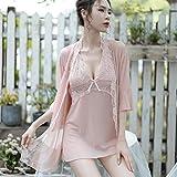 Gdofkh Lencería Sexy Pijamas Sexy de Seda de Hielo Malla Transparente Honda tentación Conjunto de Pijamas con Encanto
