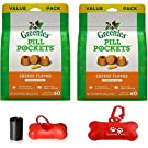 Greenies Pill Pockets Natural Dog Treats, Capsule Size 15.8 oz. 2 Pack (Total 31.6oz / 120-count) Including Luving Pets Waste Bag Dispenser