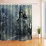 N/ Cortina de Ducha de Halloween Set Horror Casa embrujada Cortina de baño con ganchosch 183X183CM