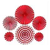 Abanicos de papel para colgar (8 unidades), color rojo