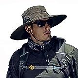 Fintier 人気な シンプルな サファリハット 日よけ帽子 UPF 50+ UVカット ハット バケットハット つば広ハット ひも付き 春夏秋 吸汗通気性抜群 登山 釣り スポーツ アウトドア ハット メンズ (オリーブグリーン)