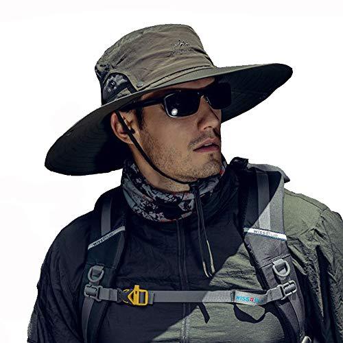 Fintier人気なシンプルなサファリハット日よけ帽子UPF50+UVカットハットバケットハットつば広ハットひも付き春夏秋吸汗通気性抜群登山釣りスポーツアウトドアハットメンズ(オリーブグリーン)