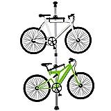 自転車スタンド ディスプレイスタンド バイクタワー 室内 2台 つっぱり式 シルバー
