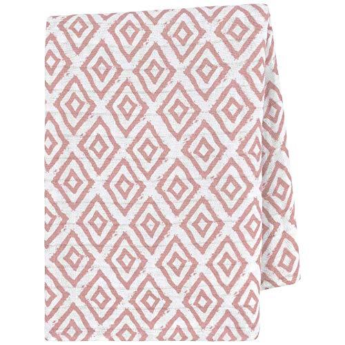 Tissu à langer premium pour bébé 120x120cm, moelleux, 100% coton bio, certifié OEKO-TEX, thermoactif, idéal en tant que couverture à langer, tissu moltonné par emma & noah (Losanges Roses)