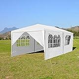 wolketon Carpas de jardín Exterior 3x6 m Blanco Impermeable Gazebo Protección UV Carpa Jardin para Patio Eventos Picnic Boda