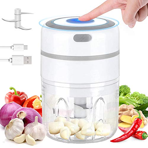 Electric Garlic Chopper, USB Portable Charging Garlic Blender and Cutter, Food Processor and Crusher, Kitchen Gadgets For Garlic, Onion, Chili, Pepper, Peanut, Meat, Vegetable, Fruit - Upgraded, 250ml