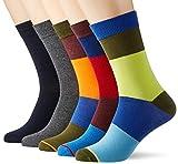 Jack & Jones JACHAPPY Block Sock 5 Pack Calcetines, negro, Talla única para Hombre