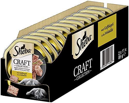 Sheba Katzenfutter Nassfutter Craft Collection Pastete mit feinen Stückchen mit Geflügel, 22 Schalen (22 x 85g), 1870 g
