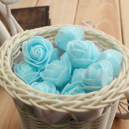 Inovey 50Pcs 2.5 Cm Artificiel Roses PE Mousse Rose Fleur Mariage Décoration Fête De La Saint-Valentin Fausses Fleurs - Bleu Clair