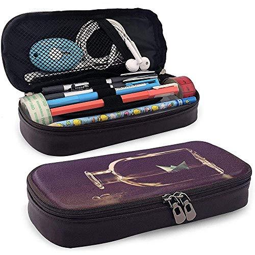 Estuche de lápices de cuero PU con cremallera, estuche de marcador de almacenamiento de gran capacidad Origami Estuche para lápices, bolsa de maquillaje cosmético