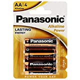Panasonic POWER LR6 AA 43741 - Pack de 4 pilas alcalinas, color azul, dorado