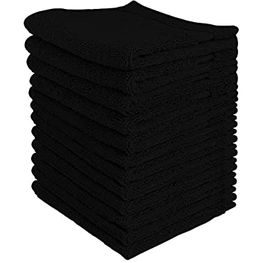 Utopia Towels Luxury Cotton Washcloth Towel Set (12 Pack, Black, 12 x 12 Inches) Multi-Purpose Extra Soft Fingertip Towels, Highly Absorbent Face Cloths, Machine Washable Sport and Workout Towels