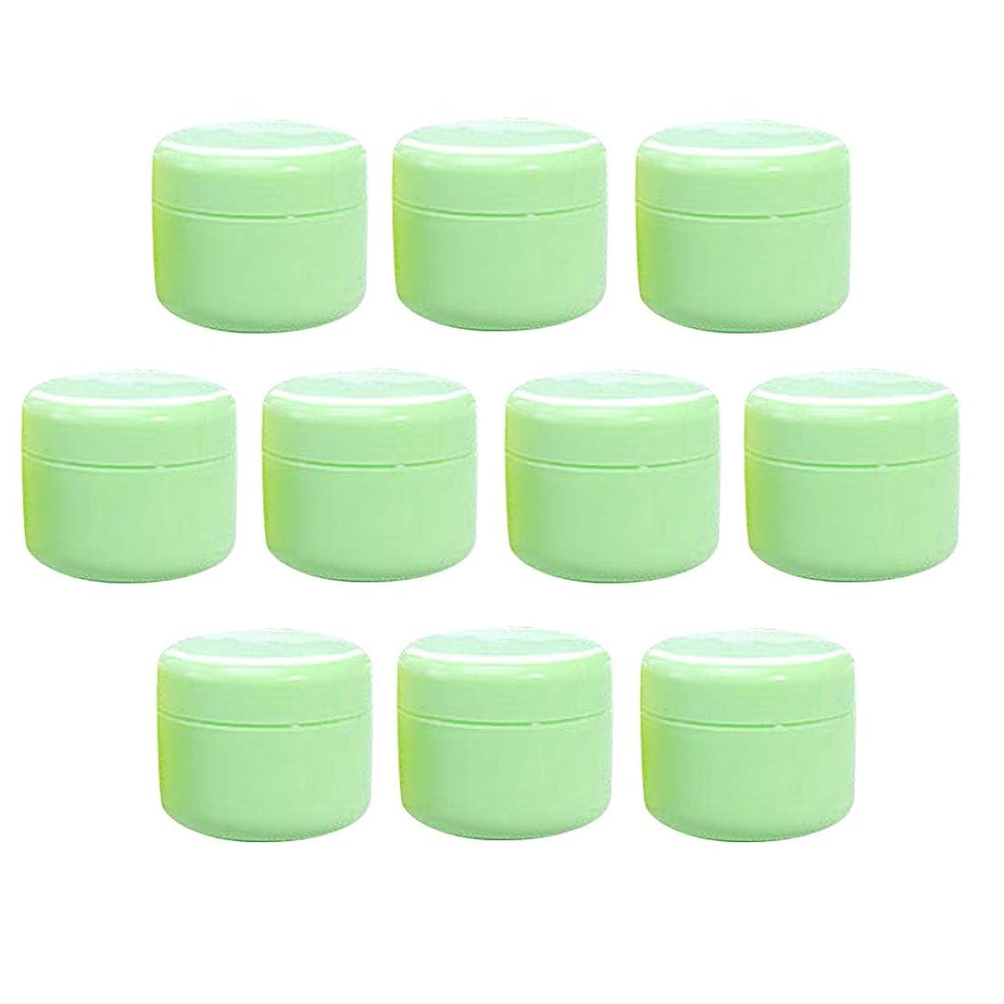 ひらめき飼料両方T TOOYFUL 空のクリーム容器 空のボトル クリームボトル 化粧品容器 詰替え容器 空の瓶 ジャー 全15色10個入り - グリーン50g